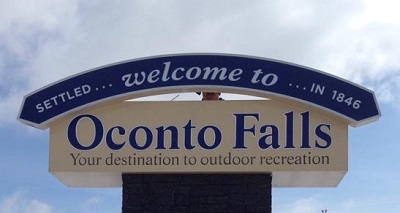Oconto Falls Welcome Sign